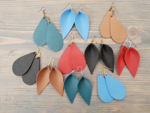 Leather Earrings, Teardrop Earrings, Leather Leaf Earrings, Leather Teardrops, Pattern Leather Earrings, Boho Earrings Handmade Boho Jewelry