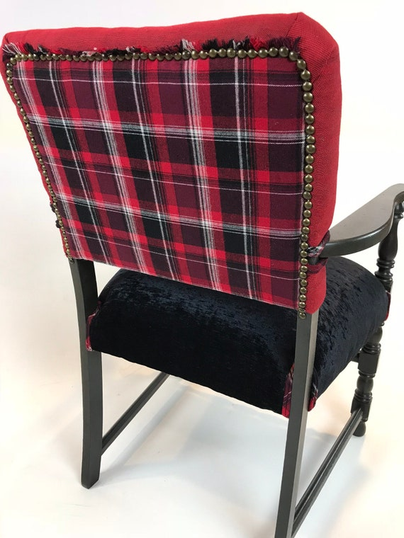 Prime Accent Chair Reupholstered Armchair Black Velvet Red Plaid Flannel Deer Antler Gmtry Best Dining Table And Chair Ideas Images Gmtryco