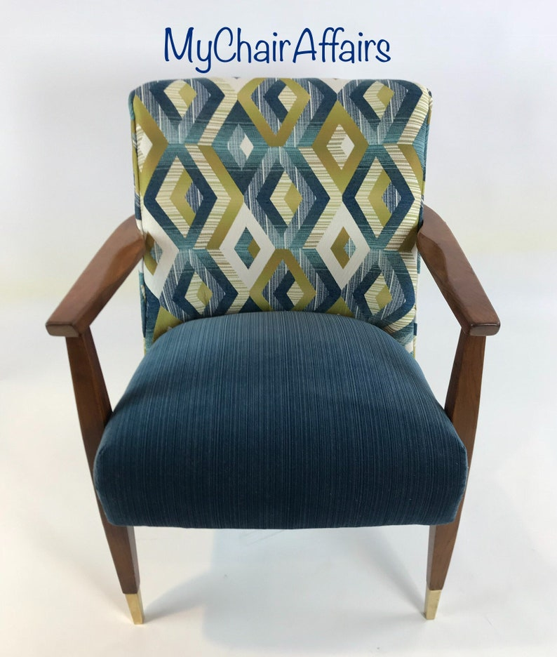 Blue Modern Accent Chairs.Accent Chair Vintage Upholstered Reupholstered Mid Century Modern Armchair Mid Mod Blue White Brass Green