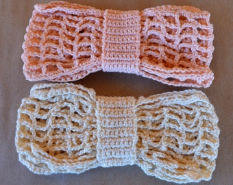 2 Hand Crocheted Bowties Bow Ties – Cream & Peach. Free USA Shipping.
