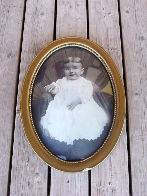 Antique Vintage Oval Wood Gold Painted Frame With Convex Etsy