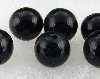 Handblown Glass hollow bead 14mm black (6)