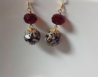 Elegant Crystal Earrings, Red Earrings, Gold Plated Earrings, Beadded Earrings