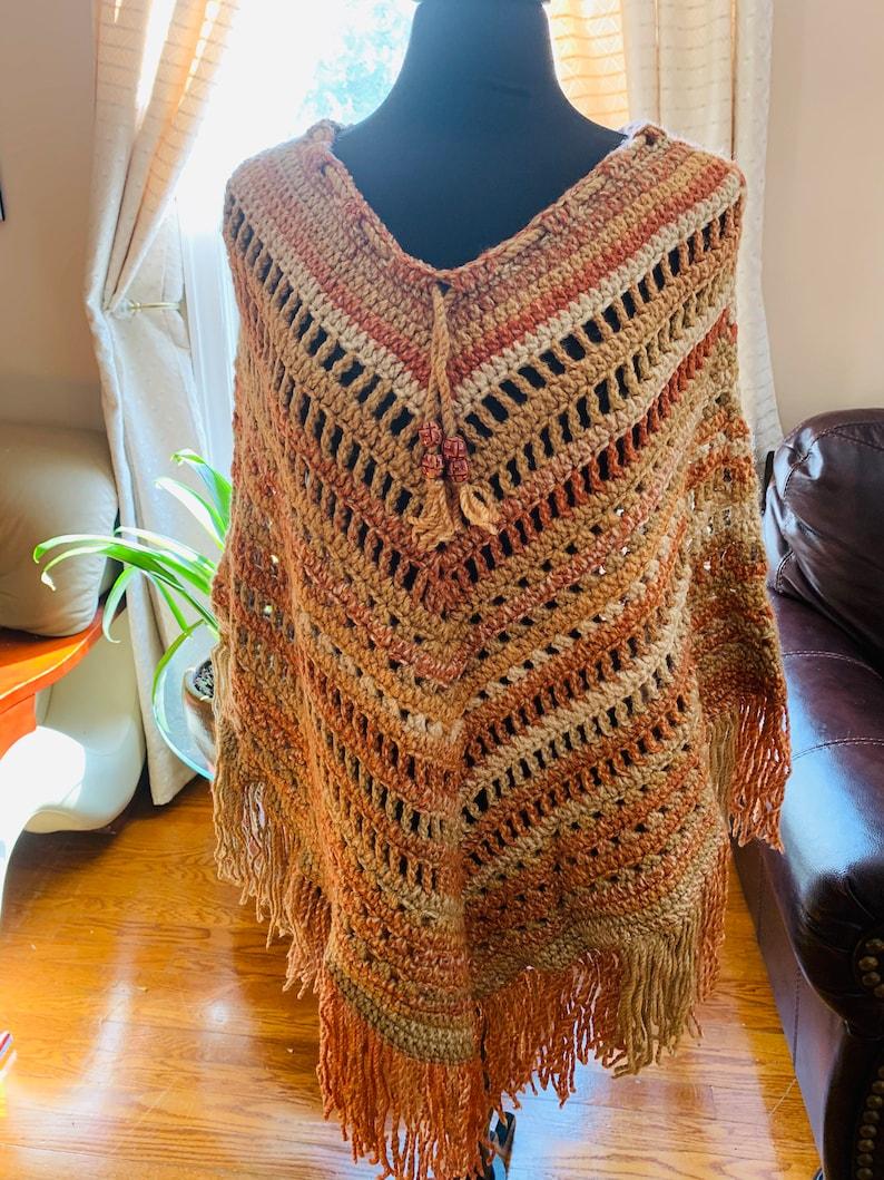 Fall Top Women sweater Top Gifts for her Boho Poncho Vintage Style Granny Square Poncho Crochet Poncho Mother\u2019s Gifts Crochet Cape