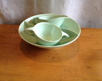 Vintage SPECKLED AQUA MELMAC Dinnerware Set. Divided Bowl, Creamer and Sugar Bowl. Sears Canada.