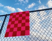 Checker Print Rug Hand Tufted (2 x 3) - Pink and Red