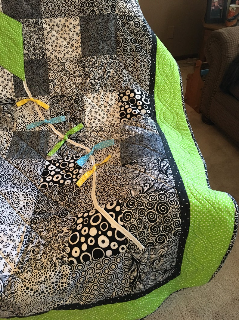 Kite Throw Kite Quilt Lime Green Black and White Handmade Quilt with Kite