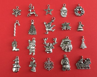 the large christmas charm collection antique silver cc026 - Christmas Charms