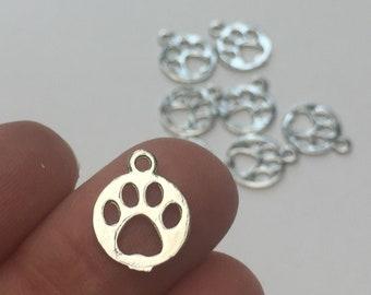 032 5 Paw Print Animal CZ Silver Plated Charms Pendants 16mm x 18mm