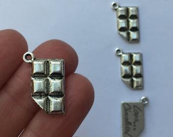 8 Chocolate bar charms antique silver tone FD276