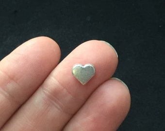 12 Heart spacer beads antique silver tone H183