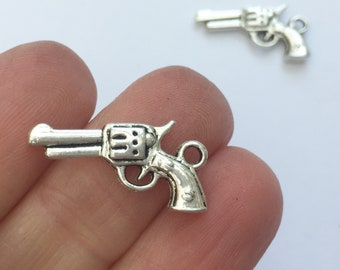 10 Gun Charms Antique Silver Tone SC151