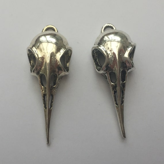 2 Bird skull pendants antique silver tone B27