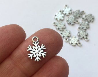 12 Snowflake Christmas Charms Antique Silver