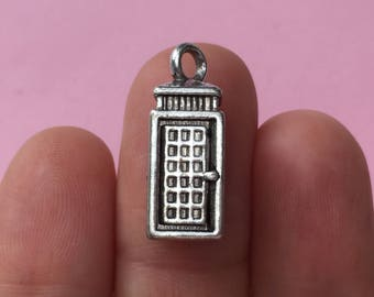 6 Telephone Box Charms Antique Silver - SC7044