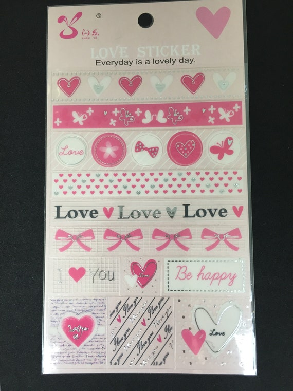 1 Sheet Diy Scrapbook Stickers Love Heart Design Etsy