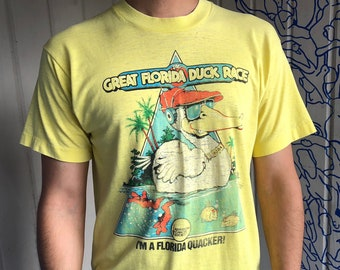 "The Great Florida Duck Race ""I'm A Florida Quacker"" Distressed Vintage Screen Stars Best T-shirt Small, Vintage Yellow Duck Tee Small"