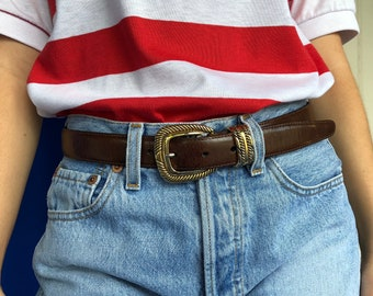 Vintage Brighton Brown Leather Belt With Gold Hardware, Small Medium Brown Leather Belt
