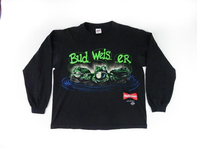 f87415d30566b9 Budweiser Frog Black Long Sleeve T-shirt Large Vintage