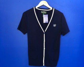Ralph Lauren Navy and White Knit Blouse, Fits Up To A Large