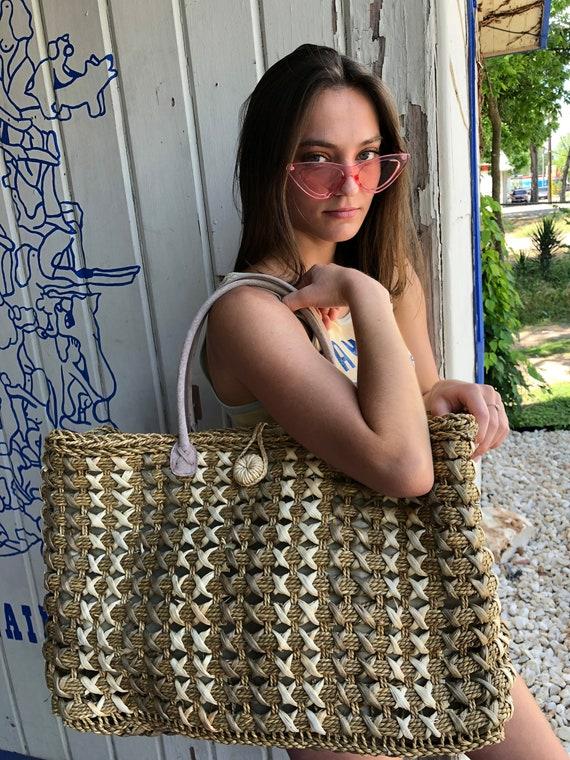 Woven Basket shoulder Bag, Straw Bag, Woven Straw