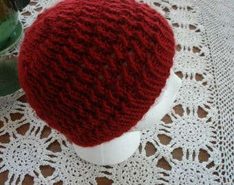 Adorable Hand Knit Hat, Child or Toddler, Dark Red.  So pretty with the woven design.