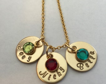 Personalized Gold Name And Birthstone Necklace- Nu Gold Hand Stamped Necklace-Gold Charm Necklace-Mother's Day Gift- Gift For Her