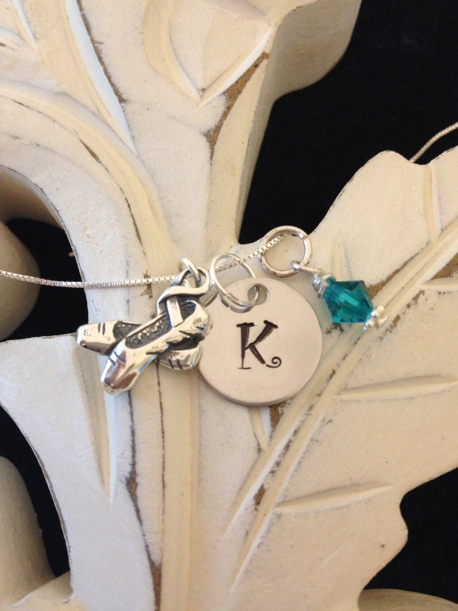 personalized sterling silver ballet shoes necklace with swarovski birthstone dancer gift, recital gift, gift for her,love to dan