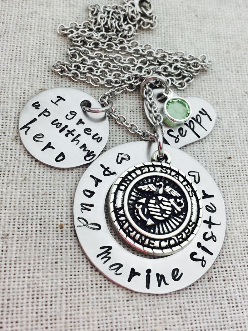 Marine Sister Custom Hand Stamped Necklace I Grew Up With My Etsy