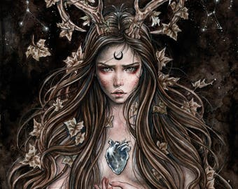 Artemisa 11x6 Inches Fantasy Gothic Art Print by Enys Guerrero
