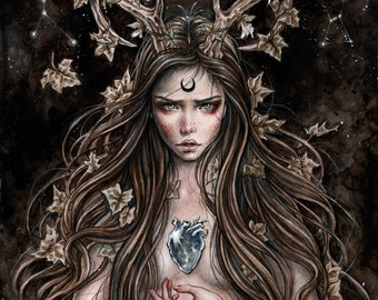 Artemisa Print Fantasy Goth Art by Enys Guerrero Size 6x11 Inches approx