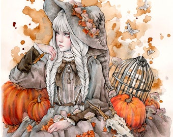 Gray Witch - 8x10' Print- Fantasy Gothic Halloween Art by Enys Guerrero