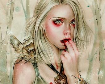 Forest Spirit 11x6 Goth Fantasy Art Print by Enys Guerrero