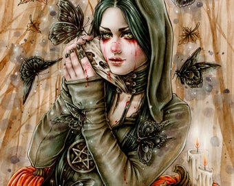 Wicked 6x8 Print Fantasy Goth Art by Enys Guerrero