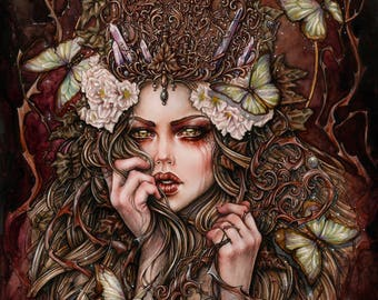 Forest Keeper 6x8 Inches Art Print Fantasy Goth Art by Enys Guerrero