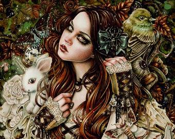 Natanya's Wonderland Art Print 8x10 Inches Fantasy Goth Art by Enys Guerrero
