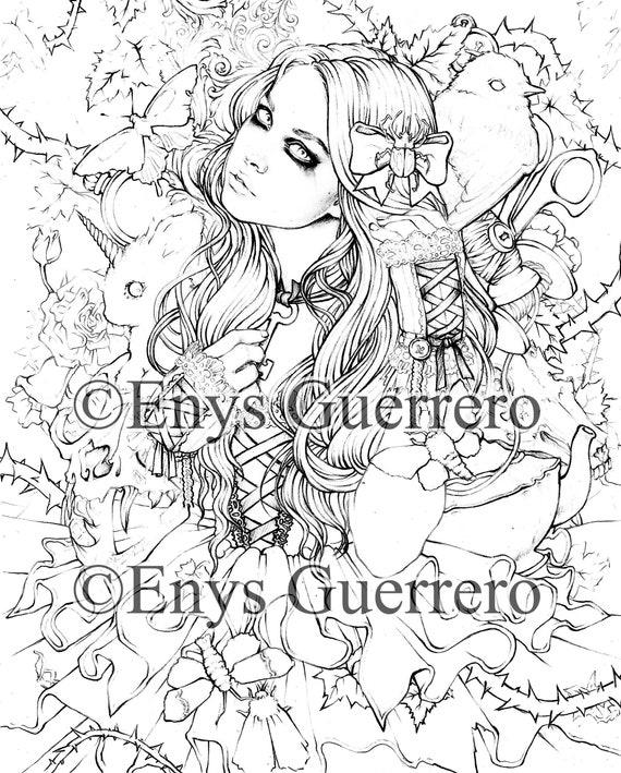 Natanya\'s Wonderland - Coloring Page Goth Fantasy Printable Download by  Enys Guerrero