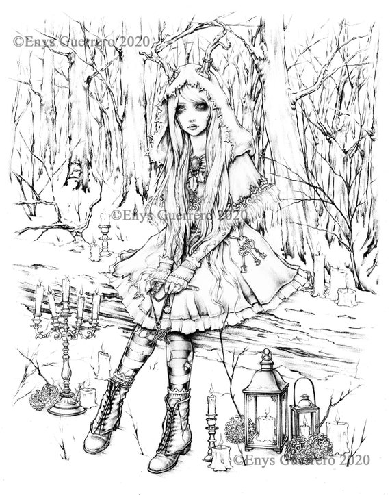 Once Upon A Time In Yule Coloring Page Goth Fantasy Etsy