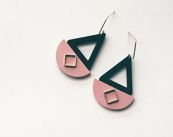 Geometric Shapes Gold & Black, Pink Earrings, Half circle, Triangle, Trendy Modern design, Minimalist, Elegant, Evening earrings