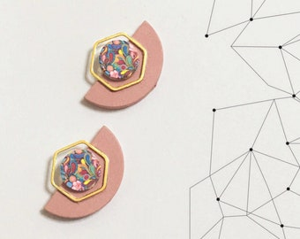 Geometric Shapes Gold, Pink & Black Earrings, Half circle, Hexagon, Trendy Modern design, Minimalist, Elegant, Evening, colorful  shapes