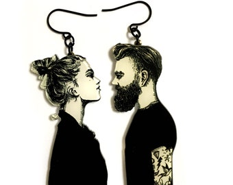 Romantic Couple in Love, Modern Black & white Art Print, Boyfriend Girlfriend Gift, hipster man, Dangle Long Earrings, Valentines Day Gift