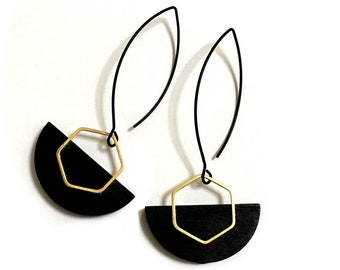 Geometric Shapes Gold & Black Earrings, Hexagon, Half circle, Trendy Modern design, Minimalist, Elegant, Evening earrings, Long earrings