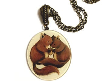 Couple of Squirrels In Love, Romantic I love you necklaces, Squirrel, acorn, long, vintique, vintage style necklace