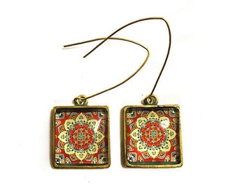 Trendy Moorish Tile Decor, Retro Geometric Antique Gold Earrings, Red, Inspired by decorated tiles in Tel Aviv that characterize the Bauhaus