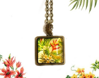 Bird of paradise flower, Tropical Green Plants, Garden, Botanical jewelry, Glass necklace, Romantic, Geometric, Square charm, Mothers day