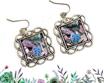 Monstera Leaf, Fern, Terrarium, Greenhouse, Nature, Tropical Green Plants, Garden, Botanical, Glass, Geometric, Pastel Blue, Silver earrings