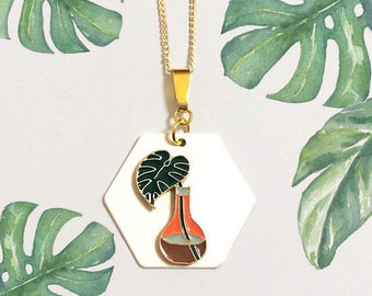 Monstera Leaf Planter, Cacti, Plant, Gold, Geometric, Tropical banana leaves, Modern, desert, Jewelry, Hexagon necklace, Trendy jewelry