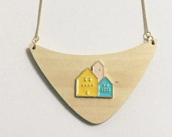 Scandinavian design, Nordic, Little house, Home sweet home, Urban, There's no place like home, Geometric, Pastel Pink Blue, Triangle, Collar