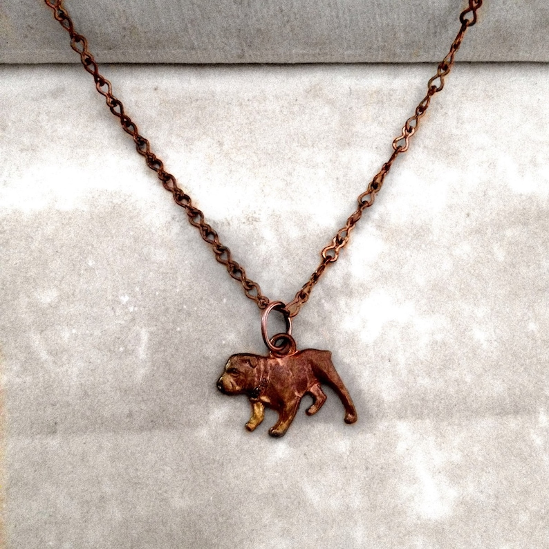 Patina Statement collar Necklace For The Animal and Dog Lovers Rare Vintage Bulldog Stamping- Copper finish Raw Ox Brass chain