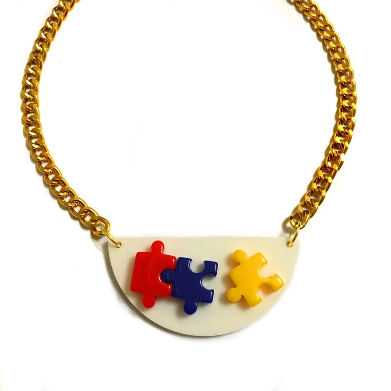 Collar Necklace Mixed media Gold Plastic Semi circle White Nerdy Toy necklace Gold Puzzle Piece Necklace Geometric Puzzle Necklace